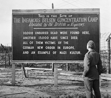 Sign at Bergen Belsen Concentration Camp