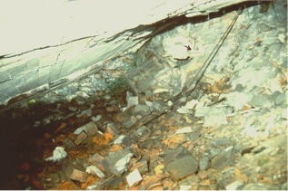 ": Interior photograph taken from the ruins of Morgue 1 (alleged ""gas chamber"") of Crematorium II"