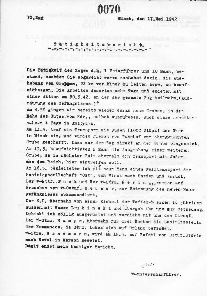 Arits Report from 17 May 1942